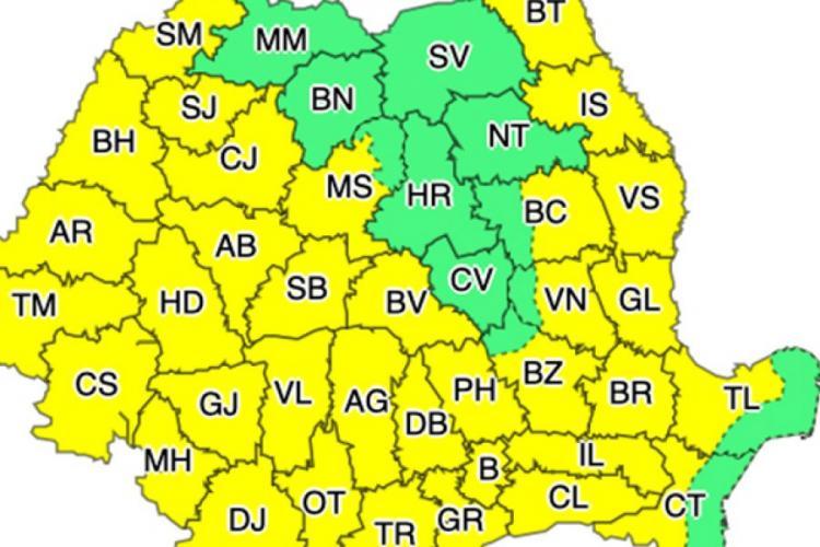 Meteo. COD GALBEN de CANICULĂ în Cluj timp de 2 zile