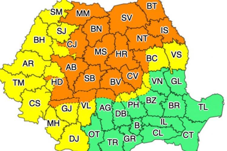 Cod PORTOCALIU de averse torențiale, vijelii și grindină în județul Cluj
