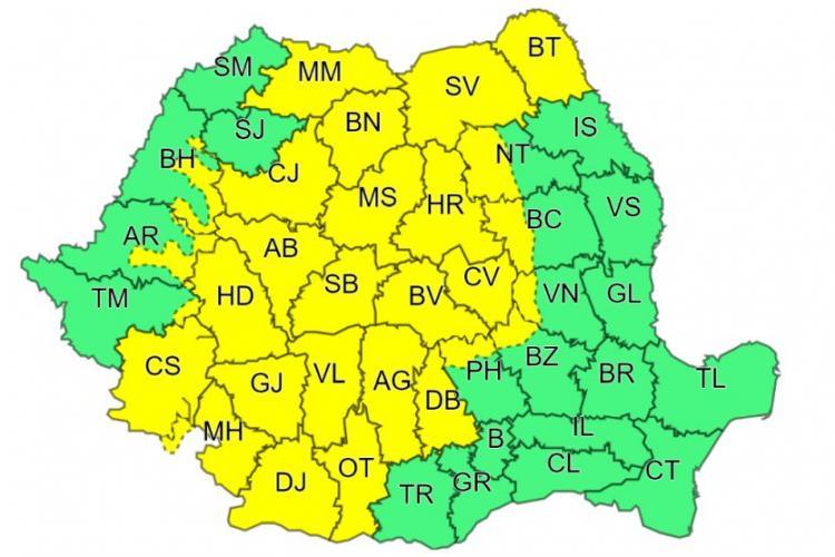 Meteo. COD GALBEN de ploi abundente în județul Cluj și alte județe din țară, până duminică
