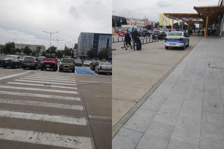 Bombardierii au parcat pe trecerea de pietoni de la Aeroportul Cluj și nimeni nu intervine - FOTO / Firma GOTO Parking se apără