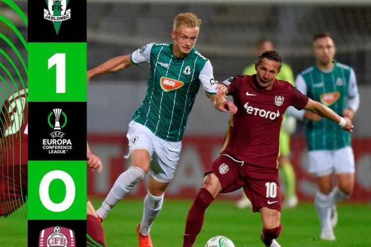 CFR Cluj a fost debutat cu stâgul în grupele Conference League: Înfrângere 0-1 cu cehii de la FK Jablonec