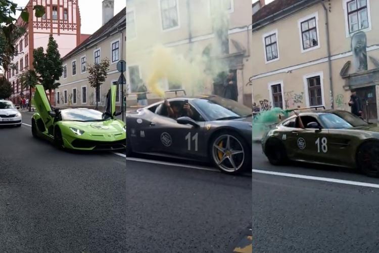 Bogații Clujului au blocat strada Universității cu bolizii de lux. Defilare ca în principatul Monaco - VIDEO