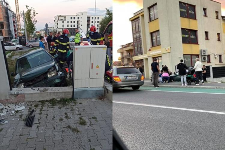 Accident grav în Bună Ziua, lângă BT! Un șofer inconștient a încercat să vireze stânga, iar un alt șofer a intrat într-un zid de beton - VIDEO