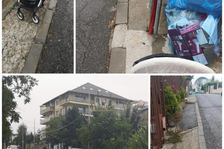 """Trotuarele din Cluj lasă de dorit. Mamele, sătule să circule mai mult pe stradă decât pe trotuar cu copiii: """"Efectiv nu ai pe unde să treci"""" - FOTO"""
