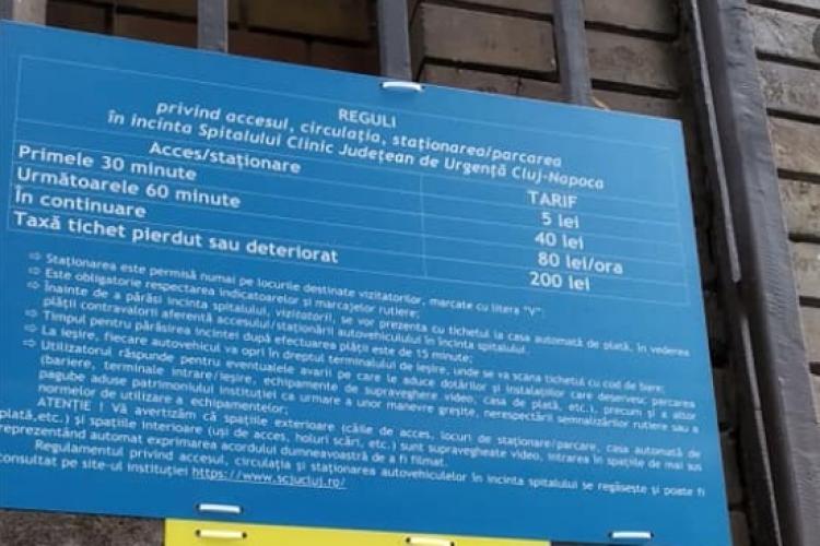 """Prețuri exagerate pentru parcarea de la Spitalul de Urgență Cluj: """"Să știți că se plătește parcarea de te lasă crăcănat"""" - FOTO"""