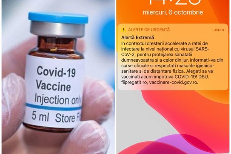 Românii au primit mesaj Ro-Alert, prin care li se cere să se vaccineze