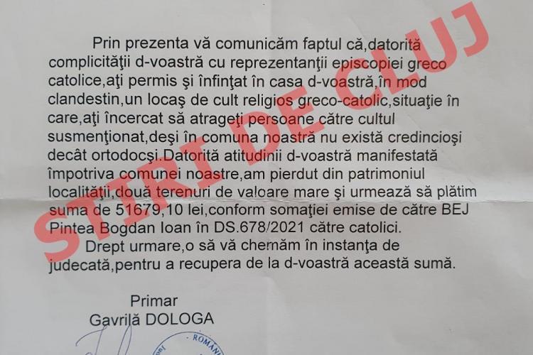 Episcopia Greco-Catolică de Maramureș condamnă presiunea, hărțuielile și amenințările făcute de primarul din Săcel