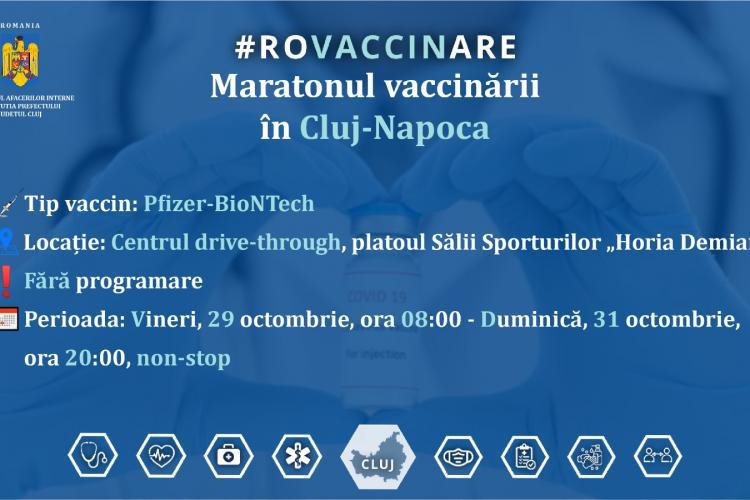 Maratonul vaccinării la Cluj-Napoca are loc în acest weekend. Clujenii se vor putea vaccina la orice oră din zi și din noapte