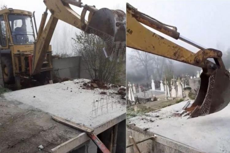 O primărie sapă gropile morților COVID cu excavatorul, pentru că groparii nu mai fac față