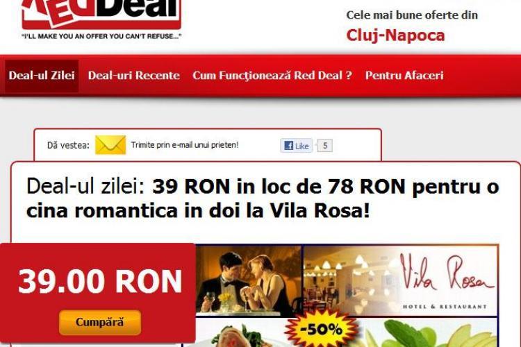 Cina romantica in 2 la jumatate de pret la Vila Rosa! (P)