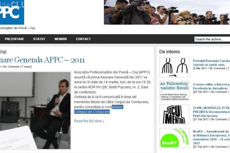Asociatia Profesionistilor din Presa Cluj (APPC) are un nou site! VEZI cum arata