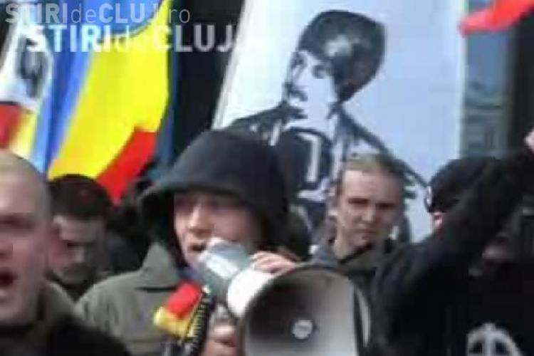 Noua Dreapta a protestat la Cluj fata de regionalizarea Romaniei - VIDEO - Galerie FOTO