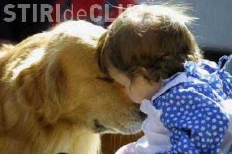 Terapie cu animale pentru copiii bolnavi internati in spitalele din Cluj