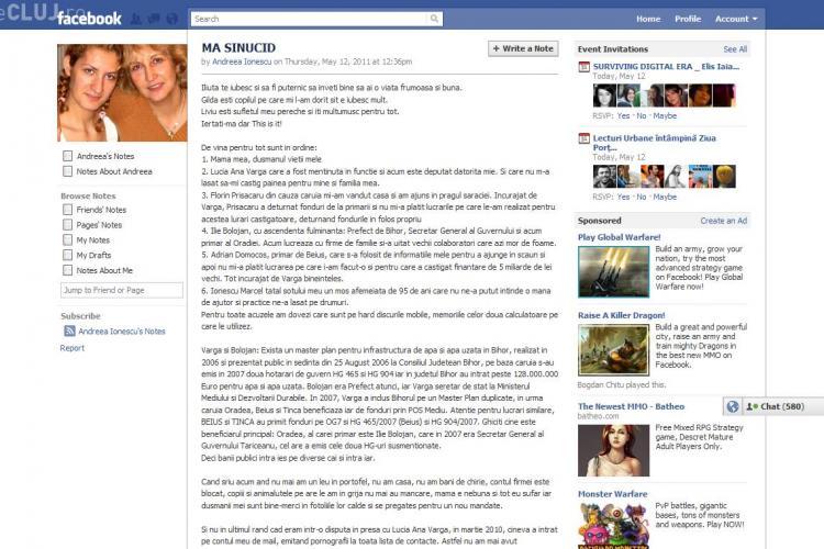 O romanca si-a anuntat sinuciderea pe Facebook! VEZI MESAJUL