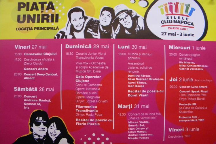 Program Zilele Clujului, sambata 28 mai! Canta Andreea Banica, Iris si Semnal M, iar bloggerii gatesc o frigaruie gigantica