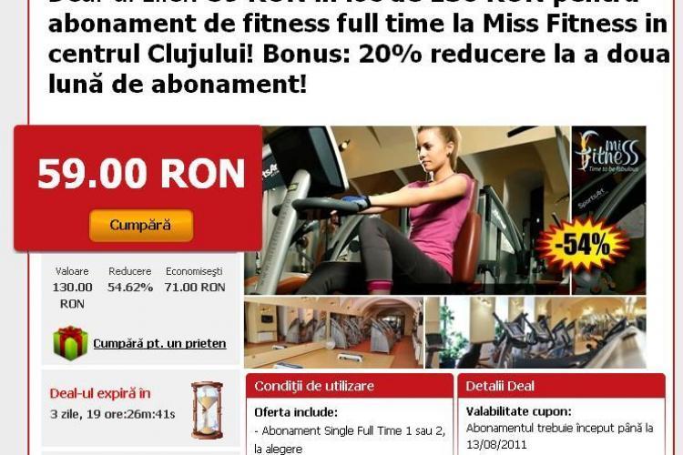 Vrei un corp de invidiat? Abonamente de fitness la 59 RON in loc de 130 RON la Miss Fitness in centrul Clujului! (P)