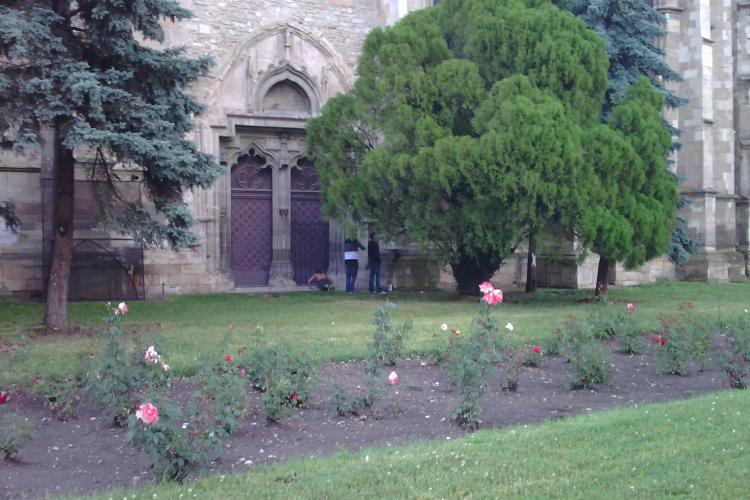 Gradina din jurul Catedralei Sfantul Mihail, folosita ca WC public