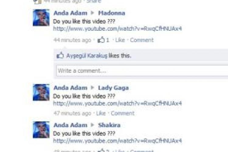 """Anda Adam cere sfaturi pe Facebook de la Madonna si Lady Gaga pentru clipul piesei """"Feel"""""""