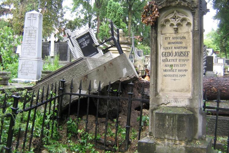 Primaria Cluj curata aleile de acces din Cimitirul Central, dupa dezastrul produs de furtuna - FOTO