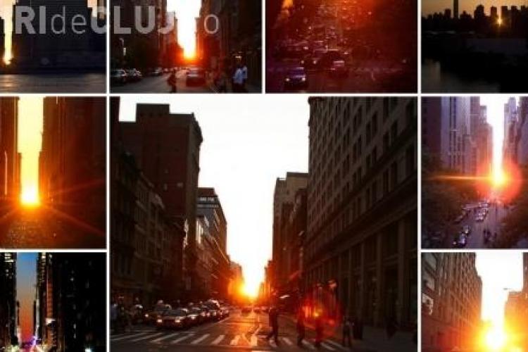 Manhattanhenge - Aliniere magica a soarelui in Manhattan VIDEO si FOTO