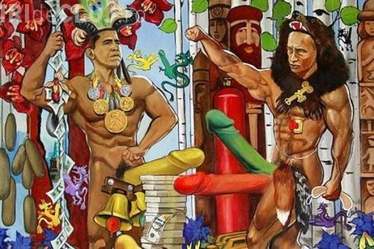 Muzeul sexului la Moscova: Obama si Putin se dueleaza in penisuri uriase - FOTO