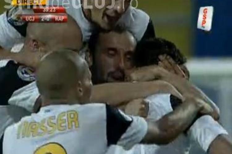 Gol Claudiu Niculescu! Jucatorul a inscris la vinclu U Cluj - Rapid 2-0 VIDEO