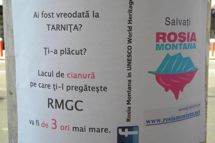 Afise cu mesajul Salvati Rosia Montana au impanzit Clujul FOTO