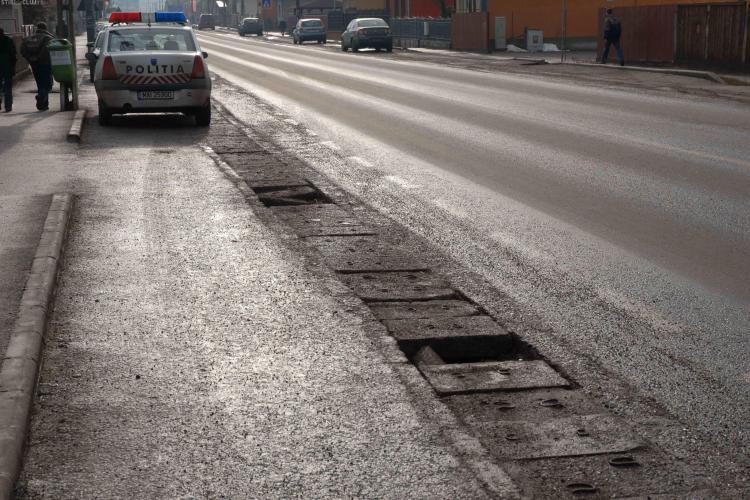 FCC Construction a dat o teapa de milioane de euro pe drumul Cluj - Gherla! In Apahida rigolele incep sa se sfarame FOTO