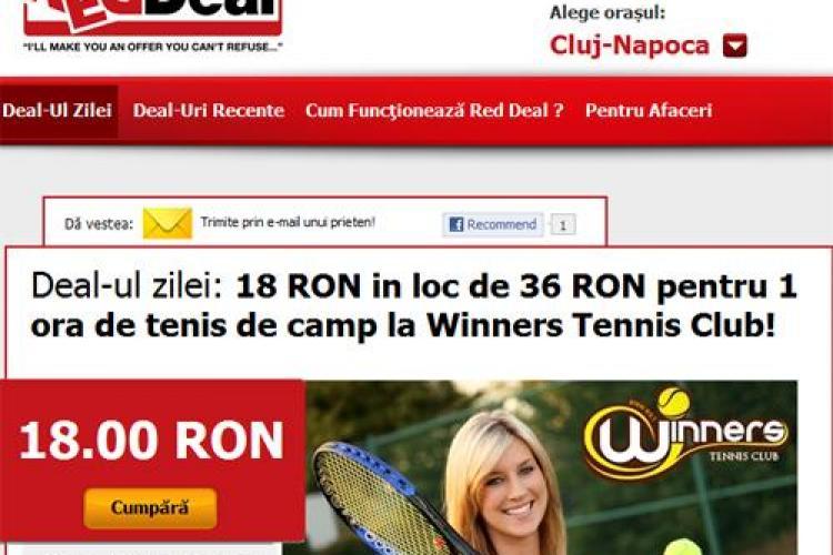 Deal-ul zilei: 18 RON in loc de 36 RON pentru 1 ora de tenis de camp la Winners Tennis Club! (P)
