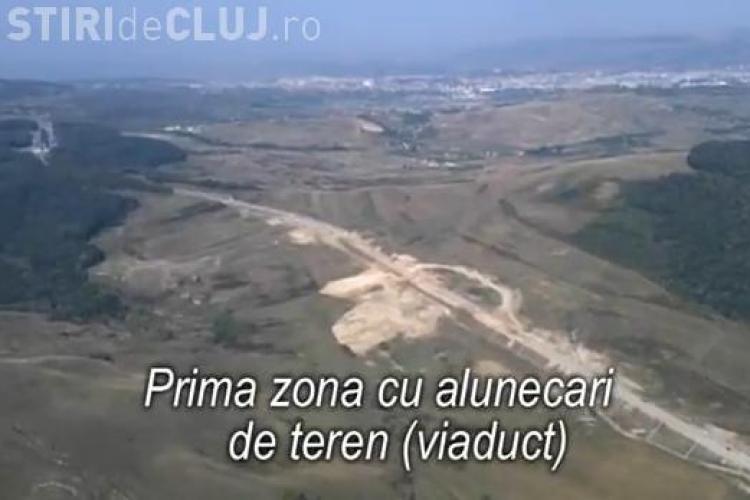Centura Valcele - Apahida vazuta din elicopter! Imagini spectaculoase cu drumul si zona afectata de alunecari VIDEO