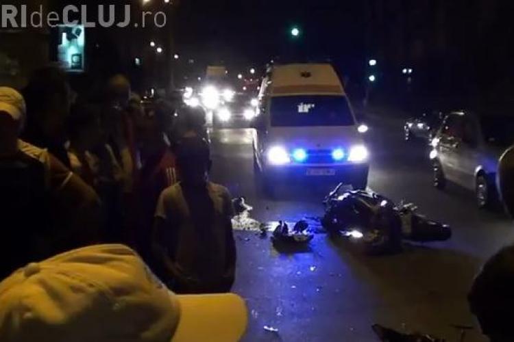 Motociclist accidentat in fata magazinului Materna din Turda! VIDEO