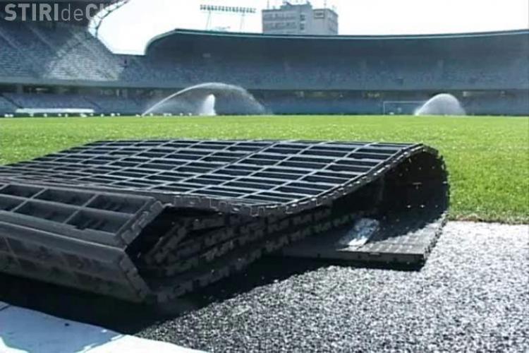 Cum arata grass cover -ul care va fi montat pe gazonul de pe Cluj Arena VIDEO