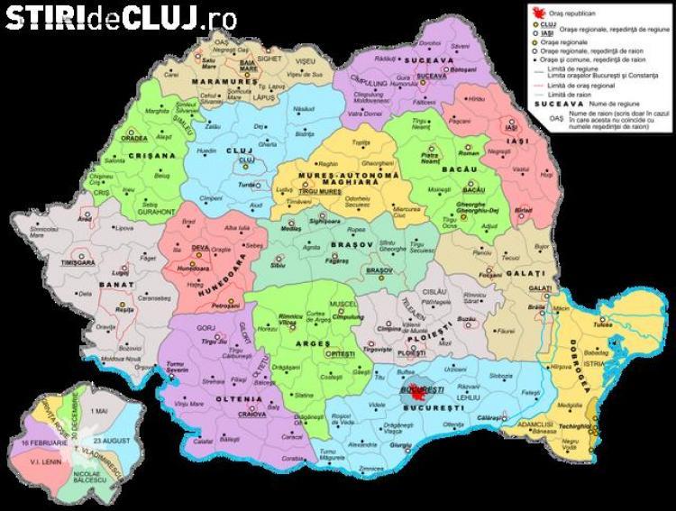 Romania Impartita Pe Regiuni Dupa Harta Din 1960 1968 Clujul Va