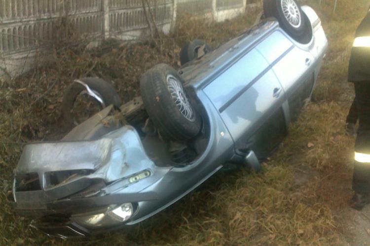 Accident la Jucu! Doua masini s-au rasturnat pe DN 1C si patru persoane sunt ranite VIDEO
