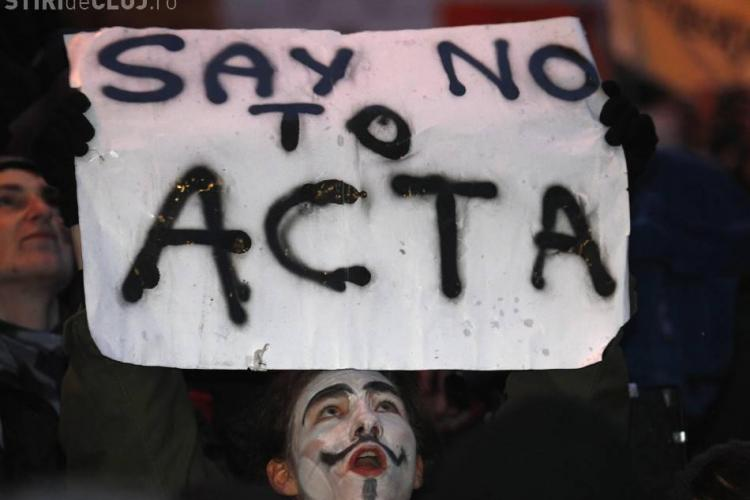 Protest anti- ACTA si la Cluj, in Piata Unirii
