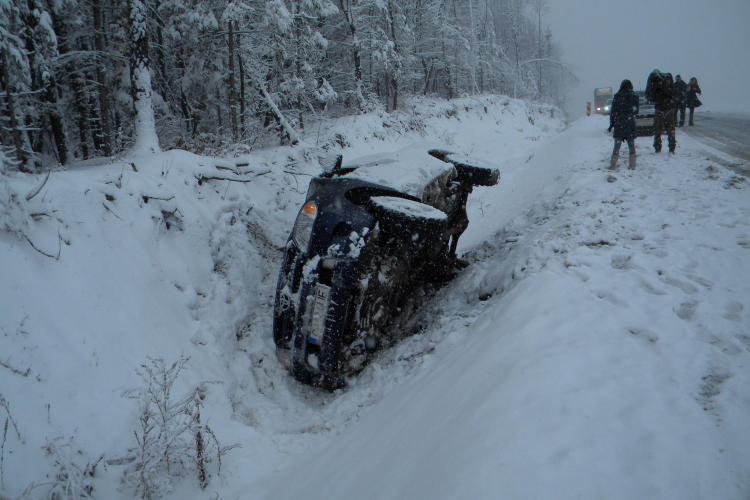 Masina rasturnata pe centura Valcele-Apahida. Un autoturism al Regiei de Drumuri e in sant FOTO si VIDEO