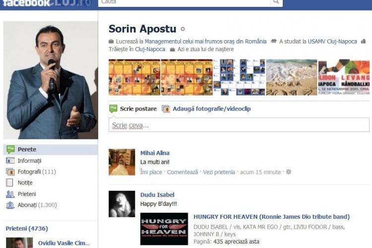 """De ziua lui Sorin Apostu, zeci de clujeni ii spun """"La multi ani!"""" pe Facebook"""