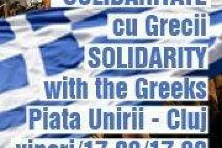 Clujenii solidarizeaza cu grecii. Protestele continua in Piata Unirii