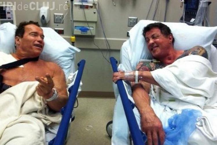 Schwarzenegger si Stallone pe patul de spital! Fotografie de colectie