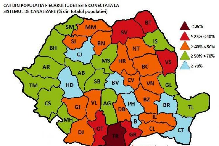 Clujul, pe locul 1 in tara in privinta gospodariilor care au dus sau toaleta in casa! VEZI harta