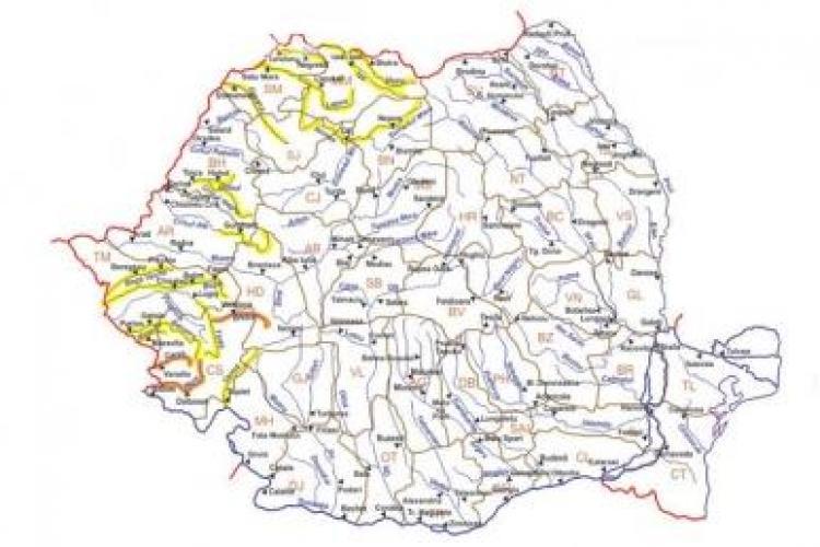Cod galben de inundatii la Cluj si in alte 8 judete. Cod portocaliu in Timis si Caras Severin