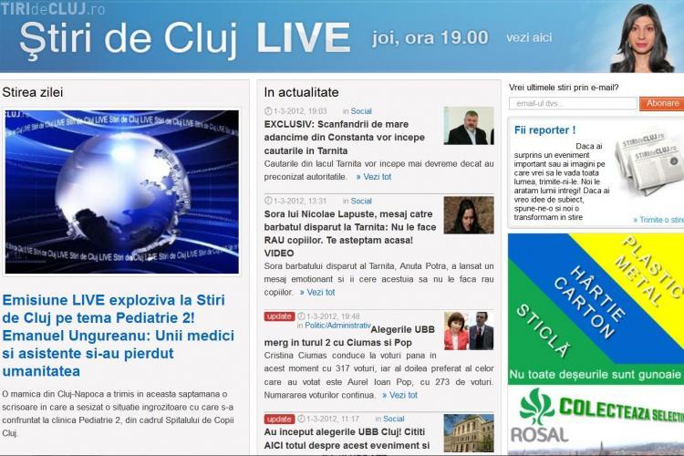 Stiri de Cluj, cel mai citit site regional din Romania, cu peste 30.000 de cititori unici inregistrati ieri