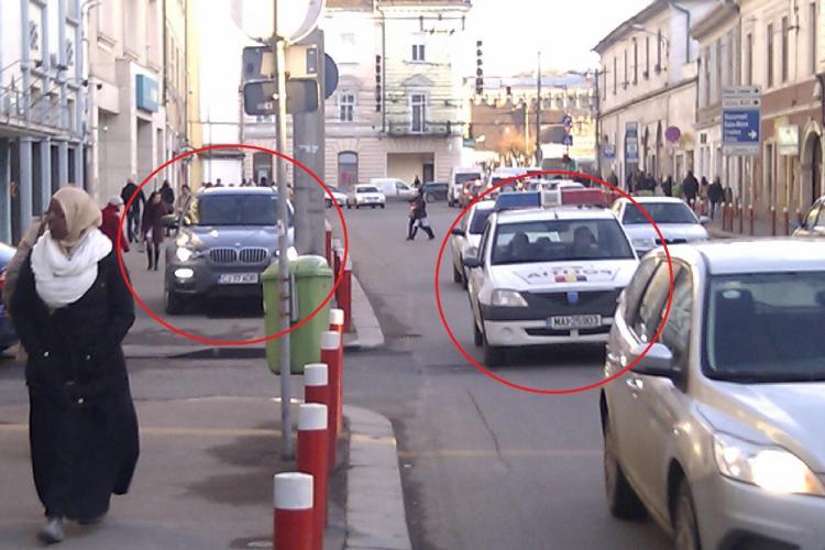 Politistii parcheaza  neregulamentar, dar scapa fara amenda, pe locul in care in urma cu trei zile un BMW a fost ridicat! FOTO