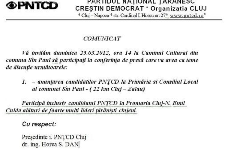 Comunicat de presa PNTCD Cluj, scris pe genunchi! Citeste-l