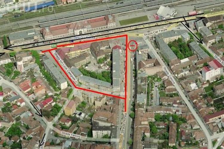 Se inchide circulatia auto in Piata Garii, intre strada I.L. Caragiale si strada Horea