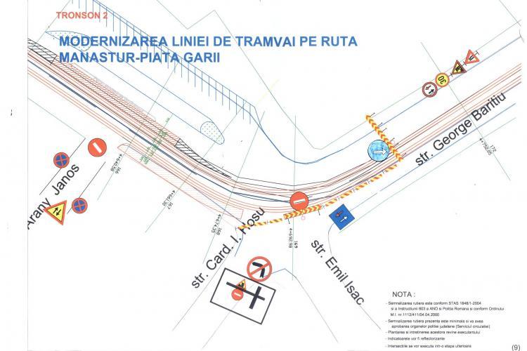 Se inchide circulatia pe strada George Baritiu pentru lucrarile de reabilitare a liniei de tramvai
