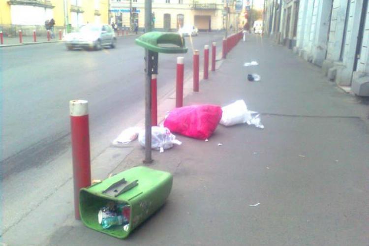 Suntem inca necivilizati! Cos de gunoi vandalizat pe Regele Ferdinand FOTO
