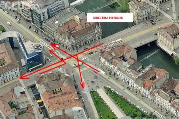 Restrictii de circulatie la intersectia Horea si George Baritiu pentru montarea liniei de tramvai! Vezi cum se va cicula