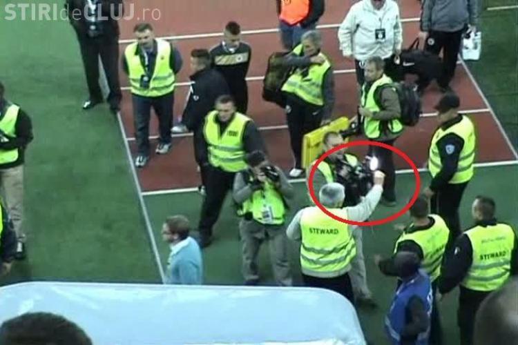 Stewarzii de pe Cluj Arena s-au luptat cu cameramanii, in timp ce Beto era lovit in tunel VEZI VIDEO