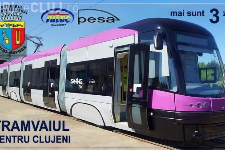 Tramvaiul modern cu WIFI a ajuns la Cluj-Napoca! Este prezentat pe strada Primaverii FOTO